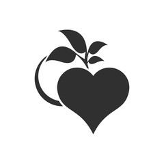 Abstract heart and leaf logo template.