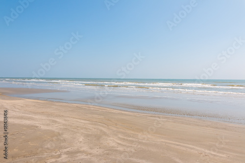 Clean Sandy Beach With Blue Ocean And Clear Sky Galveston Island Texas Houston