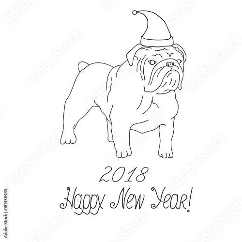 White And Black English Bulldog In Santa Claus Hat