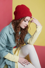 beautiful fashionable hipster girl in hat