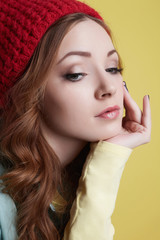 fashionable hipster girl in hat