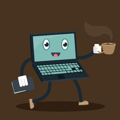 cartoon computer secretary