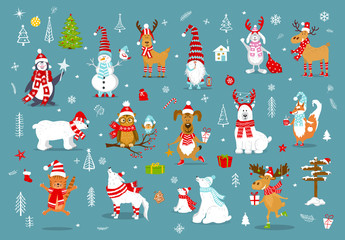 merry christmas  happy new year winter cartoon cute funny animals in santa hats scarfs with presents collection. polar bears, reindeer, deer, fox, cat, dog, wolf, rabbit, penguin, owl, bird, gnome