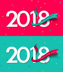 Happy New Year 2018. Greeting card design template 2018 confetti background decoration. Vector illustration of 2018 year for greetings card, flyers, invitation, posters, brochure, banners, calendar.