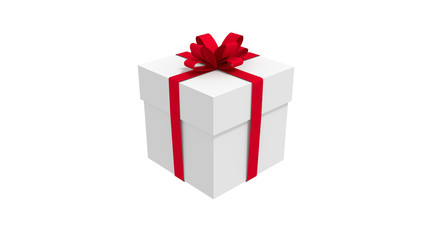 3d white gift box  tied with a red satin ribbon bow. for Christmas and new year.
