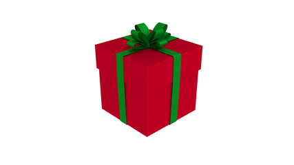 3D RED gift box  tied with a GREEN satin ribbon bow.