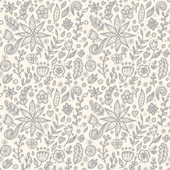 Floral seamless floral pattern in doodle style.