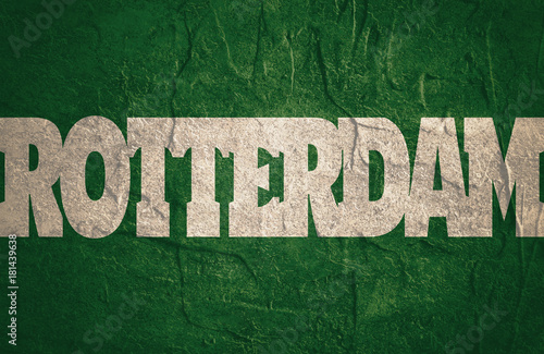 Rotterdam flag design concept  Flag with country name word