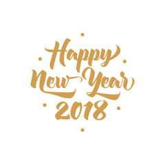 Happy New Year 2018 golden calligraphy inscription, lettering text on white isolated background