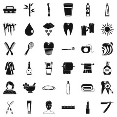 Hygiene icons set, simple style