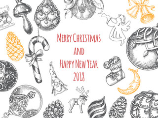 Vector illustration sketch - Greeting cards with Christmas and New Year. Christmas hand drawn Decorations - fur tree. With balls, toys, mistletoe and fir-cone.