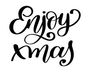 Enjoy xmas Inspirational Christmas quote about happiness. Modern calligraphy phrase with hand drawn smile. Simple vector lettering for print and poster. Typography poster design