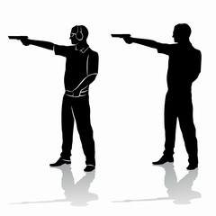 silhouette of a shooter from a gun , vector draw