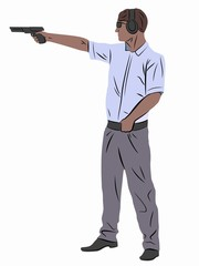 illustration of a shooter from a gun , vector draw