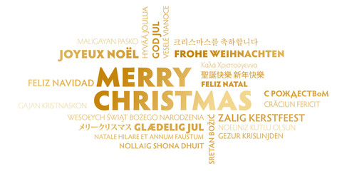 merry christmas greeting card - gold and white