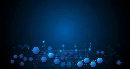 Vector illustration circuit board and hexagons background. Hi-tech digital technology and engineering, digital telecom technology concept. Vector abstract futuristic on dark blue color background