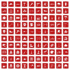 100 helmet icons set grunge red