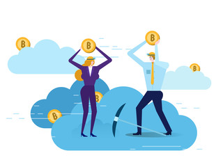 Business people with jackhammer working in bitcoin mine on cloud. Flat design elements. vector illustration