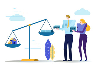 People balance house and money on scale. Real estate concept.  Flat design elements. vector illustration