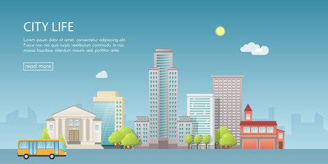 Web banner modern vector illustration of urban landscape with buildings, shop and stores, transport. Flat city on blue background.