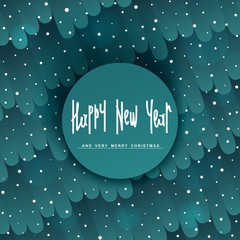 Fabulous Happy New Year design. Background with stylized pattern. Trendy handwritten lettering. Vector elements