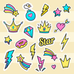 Crown, star, lightning patch vectors. Set of badges with bomb, star word, hearts, diamond and donut. Hand drawn fashion stickers, icons, logos, elements.