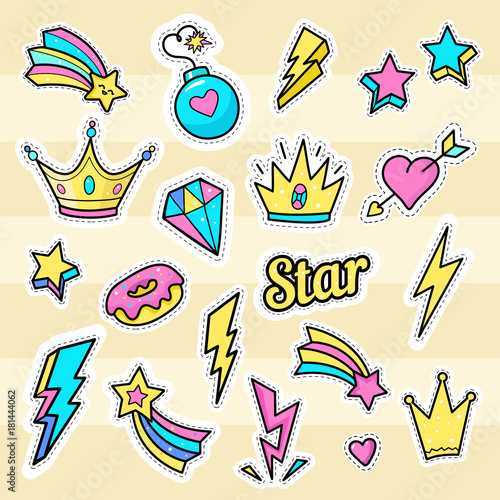crown star lightning patch vectors set of badges with bomb star