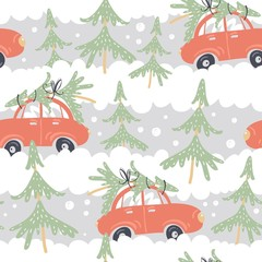 Seamless pattern with cars and Christmas trees