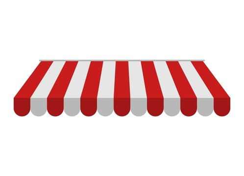 Awning isolated on white background. Striped red and white sunshade for shops, cafes and street restaurants. Outside canopy from the sun. Vector illustration