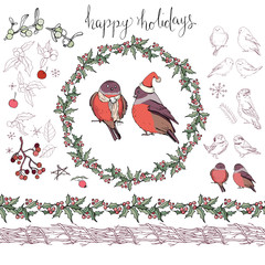 Collection of different winter birds. Christmas forest symbols and elements isolated on white. Vintage style,contour,hand drawn.