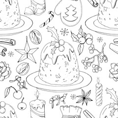 Seamless pattern with christmas pudding and decoration. Endless texture for festive design and decoration. Black and white
