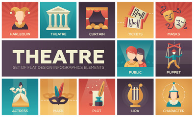 Theatre - set of flat design infographics elements