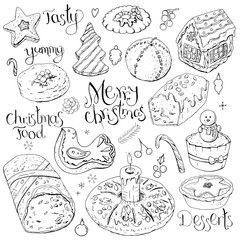 Set of different Christmas and winter desserts isolated on white. Black and white, hand drawn. Festive elements for restaurant and cafe menu.