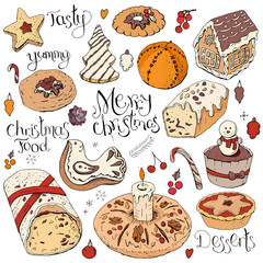 Set of different Christmas and winter desserts isolated on white. Color, hand drawn. Festive elements for restaurant and cafe menu.