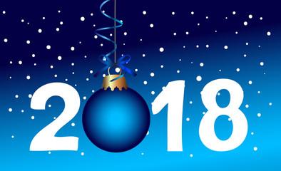2018 mit Weihnachtskugel