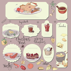 Set of different cards with traditional cheese and chocolate fondue. Template for season and festive design, greeting cards,invitations and decoration.