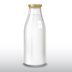 Traditional glass milk bottle. EPS-10