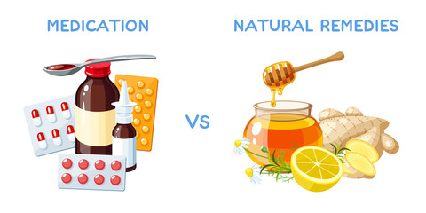 Medication vs natural remedies. Drugs, pills and medicinal syrup. Honey, ginger and lemon. Vector cartoon illustration isolated on white.