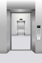 Modern elevator and interior decorative  of building., Interior scene, Vector, Illustration