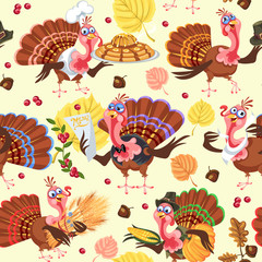 Seamless pattern cartoon thanksgiving turkey character in hat with harvest, leaves, acorns, corn, autumn holiday bird vector illustration background for fabric textile or wrapping