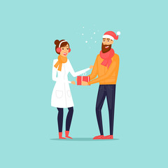 Guy gives the girl a gift. Merry Christmas and a Happy New Year. Flat design vector illustration.