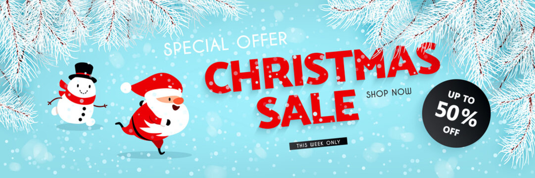Christmas sale, discounts. A festive banner with a running Santa Claus, Snowman, snow, and the branches of the Christmas tree. Vector