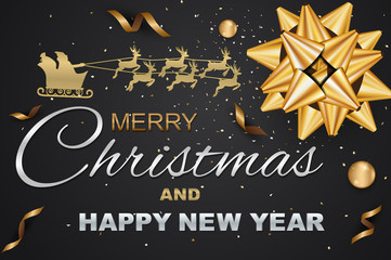 Merry Christmas and Happy New Year greeting card, colored text Design on background texture