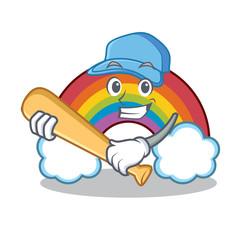 Playing baseball colorful rainbow character cartoon