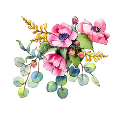 Wildflower bouquet in a watercolor style isolated. Full name of the plant: poppy. Aquarelle wild flower for background, texture, wrapper pattern, frame or border.