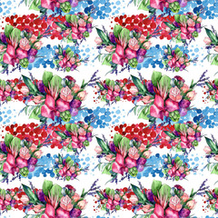 Wildflower bouquet pattern in a watercolor style. Full name of the plant: orchid, rose. Aquarelle wild flower for background, texture, wrapper pattern, frame or border.