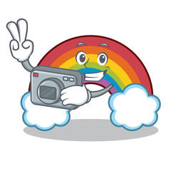 Photographer colorful rainbow character cartoon