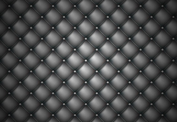 Black Photorealistic Vector Leather Texture.