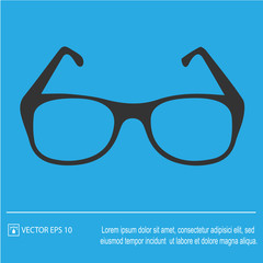 Glasses vector icon. Simple silhouette vector illustration EPS 10.