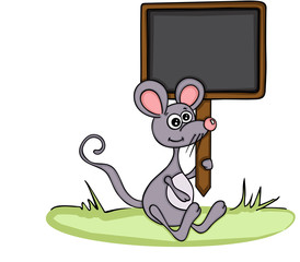 Cute mouse holding a chalkboard